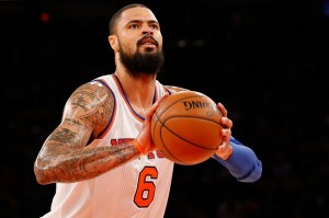Jan 26, 2014; New York, NY, USA; New York Knicks center Tyson Chandler (6) shoots the ball during the third quarter against the Los Angeles Lakers at Madison Square Garden. The Knicks won 110-103. Mandatory Credit: Anthony Gruppuso-USA TODAY Sports