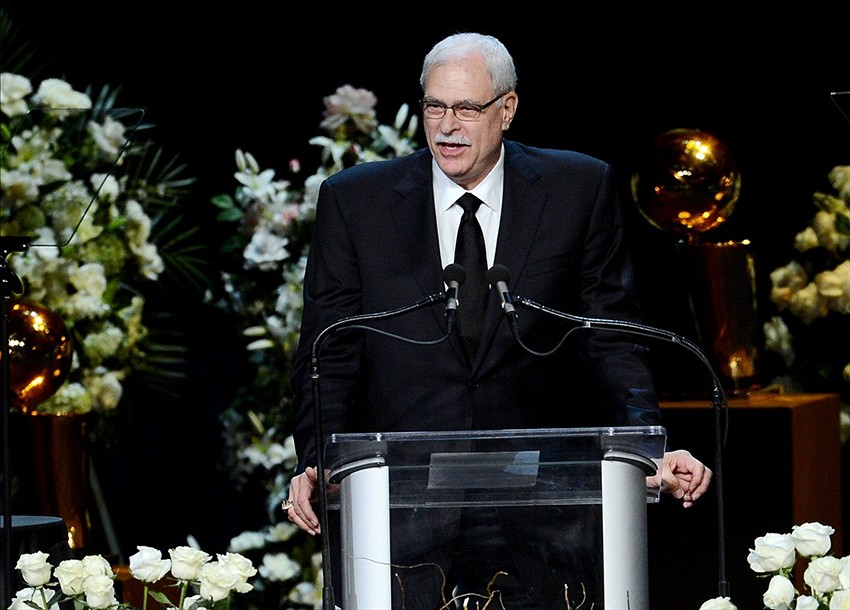 Feb 21, 2013; Los Angeles, CA, USA; Phil Jackson speaks at the memorial service for Dr. Jerry Buss held at the Nokia Theater. Mandatory Credit: Jayne Kamin-Oncea-USA TODAY Sports