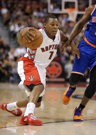 Oct 11 2013 Toronto Ontario CAN Raptors Point Guard Kyle Lowry 7 Makes A Move Against The New York Knicks At Air Canada Centre