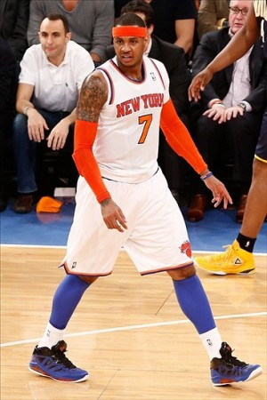 May 16, 2013; New York, NY, USA; New York Knicks small forward Carmelo Anthony (7) reacts on the court against the Indiana Pacers during the first half in game five of the second round of the 2013 NBA Playoffs at Madison Square Garden. Mandatory Credit: Debby Wong-USA TODAY Sports