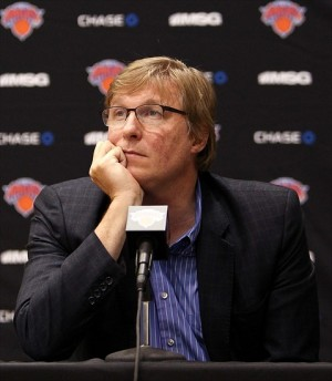 Oct. 1, 2012; Tarrytown, NY, USA; New York Knicks executive vice president and general manager Glen Grunwald speaks to the media at the MSG Training Facility. Mandatory Credit: Debby Wong-USA TODAY Sports