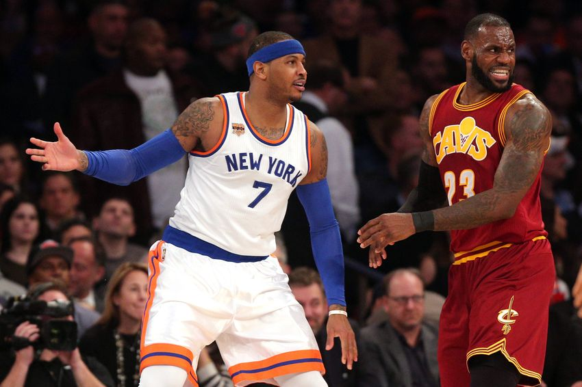 online store 14ff7 275a0 Dec 7, 2016  New York, NY, USA  New York Knicks small forward Carmelo  Anthony (7) and Cleveland Cavaliers small forward LeBron James (23) react  as James is ...